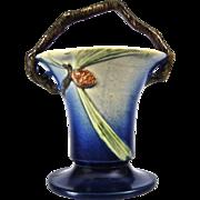 "Roseville Pottery PineCone Basket #338-10"", Blue, c. 1936"