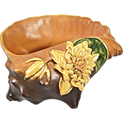 "Roseville Pottery Water Lily Conch Shell #438-8"", Brown, c. 1943"