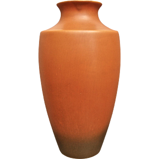 "Roseville Pottery Rosecraft Vase #227-12"", Burnt Orange, c. 1925"