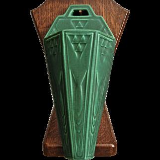 """Roseville Pottery Matt Green Wall Pocket #1203-10"""", c. 1916"""