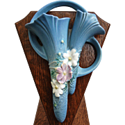 "Roseville Pottery Cosmos Wall Pocket #1286-8"", Blue, c. 1939"