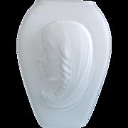 Phoenix Glass Sculptured Artware Madonna Vase, Satin Frost, Circa 1943