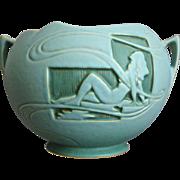 "Roseville Pottery Silhouette Rose Bowl #742-6"", Aqua, c. 1950"