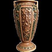"""Roseville Florentine Vase #233-10"""", Brown, c. 1924"""