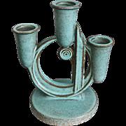 "Roseville Pottery Moderne Triple Candelabra #1112-5.5"", Turquoise, Circa 1936"