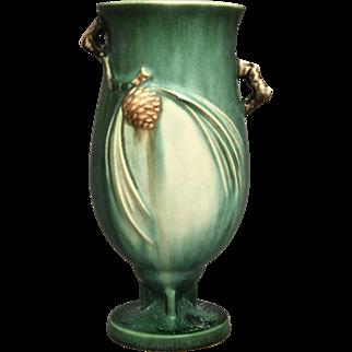 "Roseville Pottery PineCone Vase #840-7"", Green, Ca. 1936"