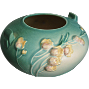 """Roseville Pottery Ixia Rose Bowl #326-4"""", Green, c. 1937"""
