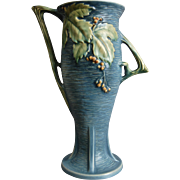 "Roseville Pottery Bushberry Vase #39-14"", Blue, c. 1941"