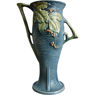 "Roseville Pottery Bushberry Vase #39-14"", Blue, c. 1941"