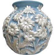Phoenix Glass Sculptured Artware Daisy Vase, Blue Pearlized, Circa 1940