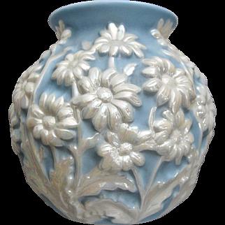 Phoenix Glass Sculptured Artware Daisy Vase, Blue Pearlized, Circa 1940