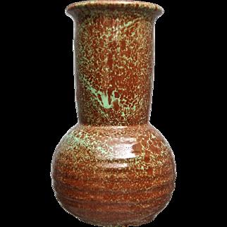 Cowan Pottery Vase #V-53, Green over Brown, Ca. 1930