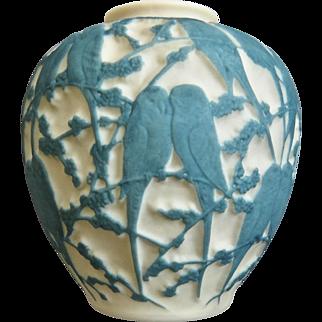 Consolidated Martele' Lovebird Vase, Aqua, c. 1926