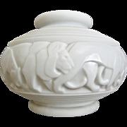 Pierre d'Avesn Opaline Vase w/Lions, c. 1930