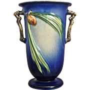 "Roseville Pottery PineCone Vase #907-7"", Blue, Circa 1936"