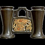 "Roseville Pottery Rosecraft Panel Double Bud Vase #49-5"", Brown, Ca. 1926"