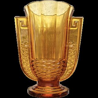 "Val St. Lambert Luxval ""Romeo"" Vase, Amber, c. 1935"