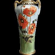 Noritake Nippon Hand Painted Poppy Vase, Ca. 1915