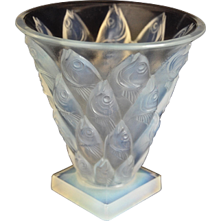 """Sabino """"Poissons"""" Vase, Opalescent Crystal"""
