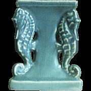 Rookwood Pottery Seahorse Candlestick #1773, Blue Mat, 1922