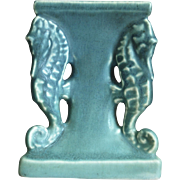 Rookwood Pottery Seahorse Candlestick #1773, Blue Mat, 1922