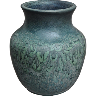 Hampshire Pottery Vase #121, Blue Matt, c. 1915
