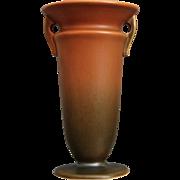"Roseville Pottery Rosecraft Vase #244-6"", Burnt Orange, Ca. 1925"