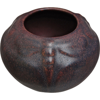 Van Briggle Pottery Dragonfly Bowl #837, Mulberry, 1920