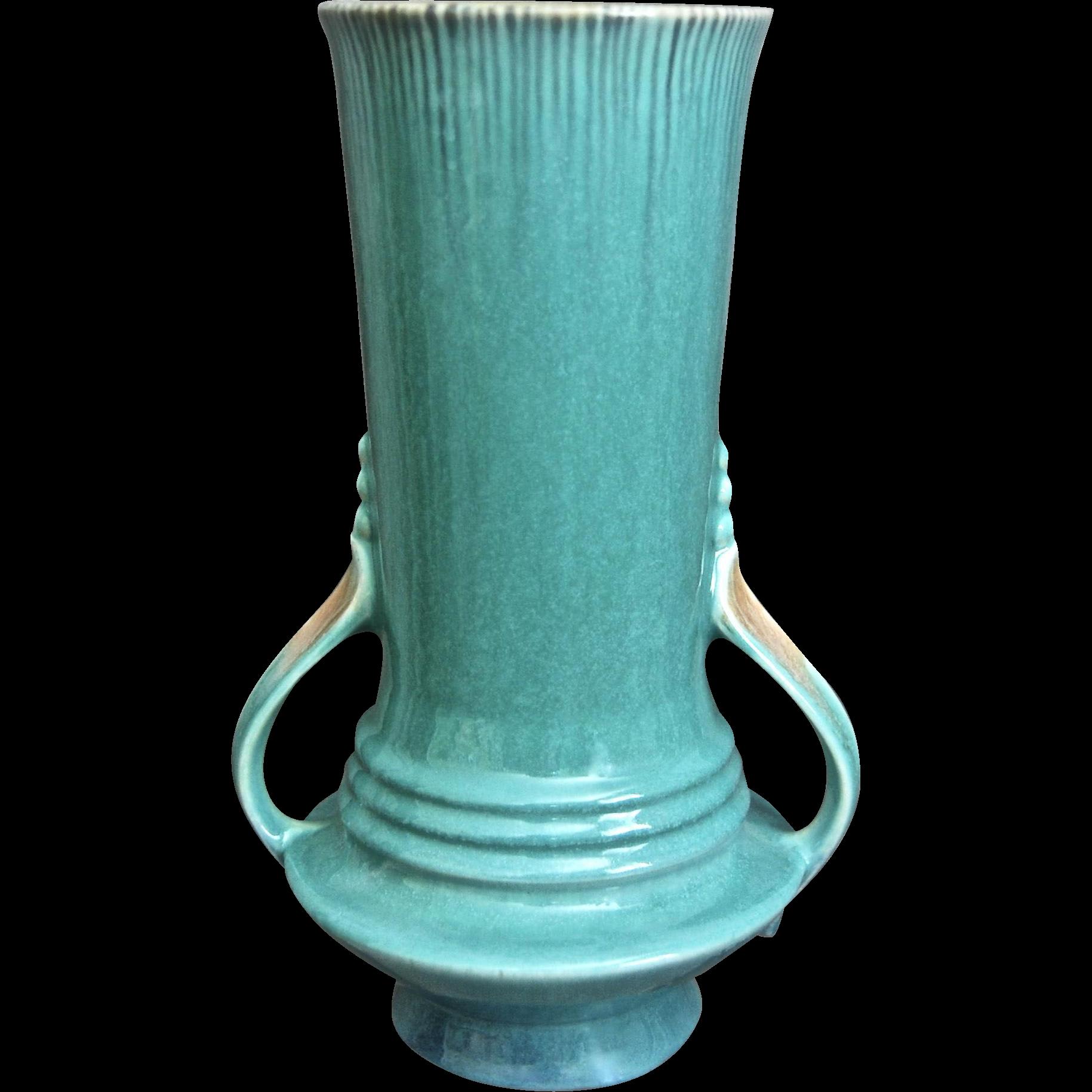 """Roseville Pottery Orian Vase #738-9"""", Blue, 1935"""