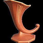"Roseville Pottery ""Russco"" Cornucopia #110-7"", Salmon, Ca. 1934"