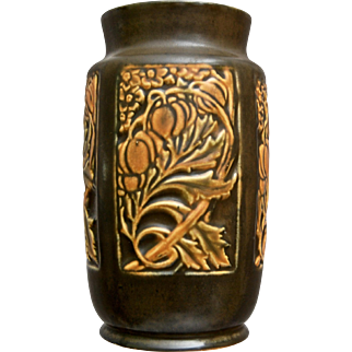 "Roseville Pottery Rosecraft Panel Vase #289-7"", Brown, Ca. 1926"