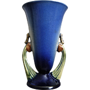 "Roseville Pottery PineCone Vase #747-10"", Blue, Ca. 1936"