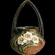 """Roseville Pottery Jonquil Basket #324-8"""", c. 1930"""