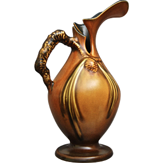 """Roseville Pottery PineCone Ewer #909-10"""", Brown, Ca. 1936"""