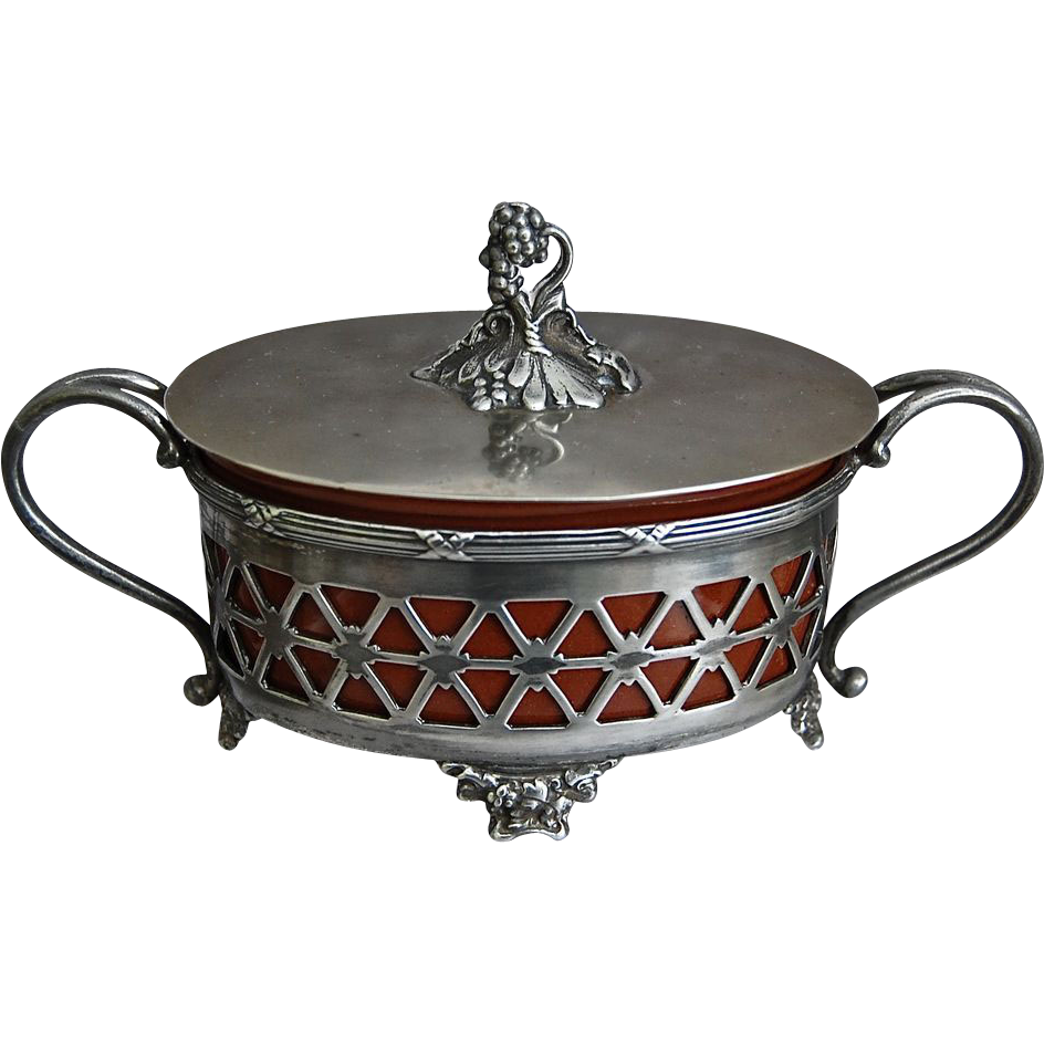 Meriden Silverplate Covered Dish w/Sarreguemines insert, Circa 1900