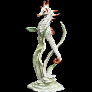 Rare Hutschenreuther Porcelain Seahorse Figurine, Ca. 1968