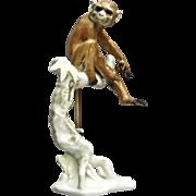 Rare Hutschenreuther Porcelain Monkey Figurine, Ca. 1968