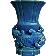"Cowan Pottery ""Chinese Bird"" Vase #747, Egyptian Blue, Ca. 1931"