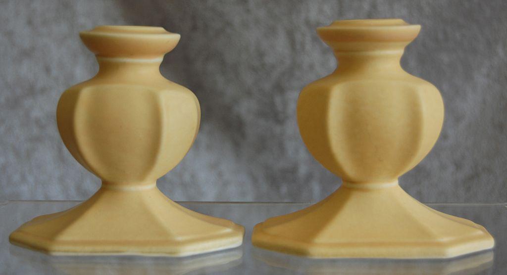 Cowan Pottery Candlesticks #681 Ca. 1925, Pair, Matte Yellow
