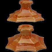 Cowan Pottery Candlesticks #642 Ca. 1924, Pair, Marigold Lustre