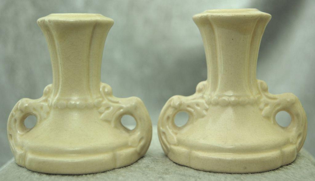 Cowan Pottery Candlesticks #528 Ca. 1925, Pair, Ivory