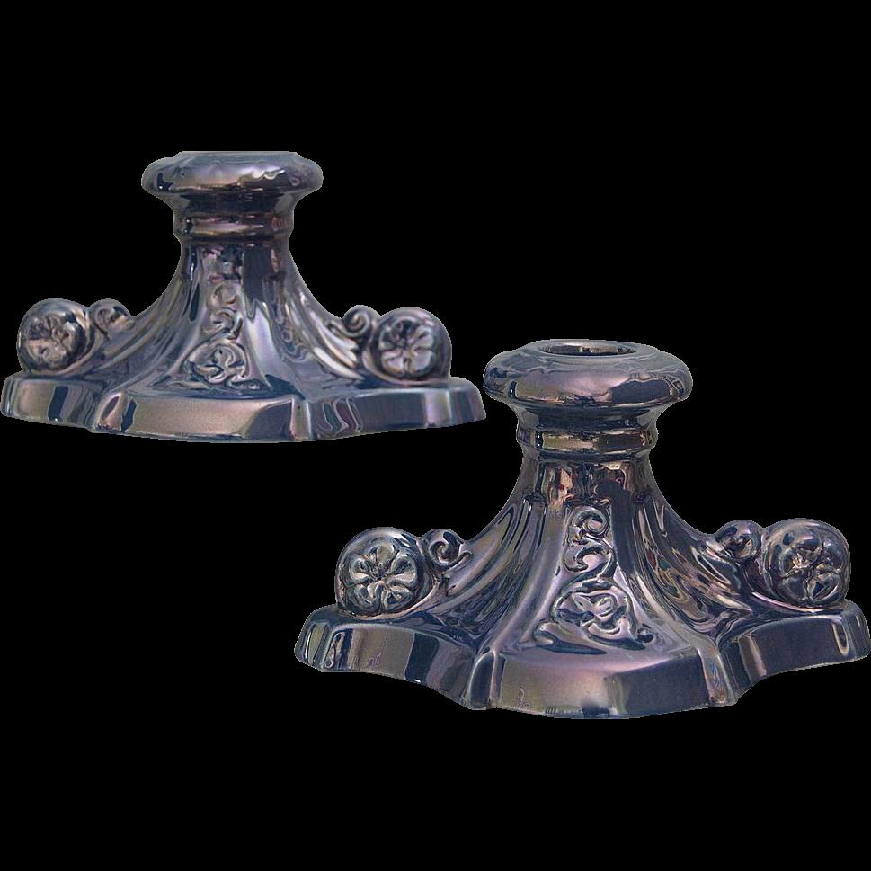 Cowan Pottery Candlesticks #52, Pair, Delphinium Lustre, c. 1925