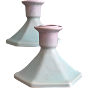 Weller Pottery Lavonia Candlesticks, Pair, Ca. 1925
