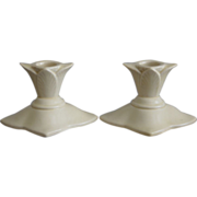 Cowan Pottery Floral Form Candlesticks #940 Ca. 1929, Pair, Ivory