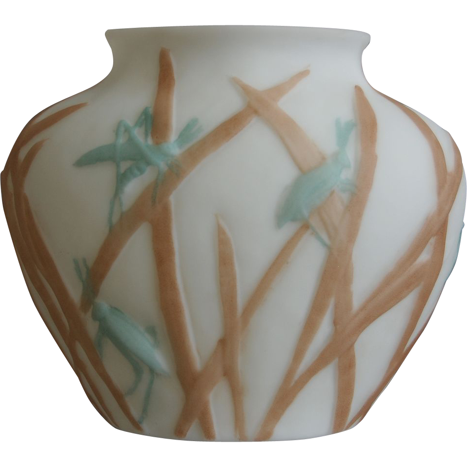 Consolidated Martele' Katydid Ovoid Vase c 1926, Bi-color on Satin Milk Glass
