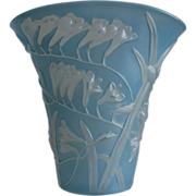 Phoenix Glass Sculptured Artware Freesia Fan Vase, Blue Wash, w/Label