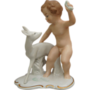 "Wallendorf Porcelain Figurine, ""Boy With Fawn"", c 1960's"