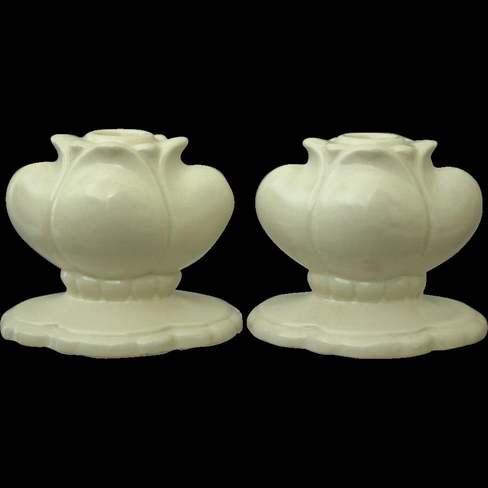 "Cowan Pottery ""Floriform"" Candlesticks #735 Ca. 1926, Pair, Ivory"