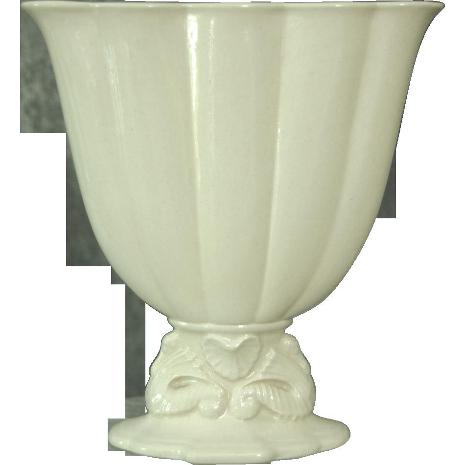 "Cowan Pottery 7"" Seahorse Fan Vase Ca. 1926, Ivory"