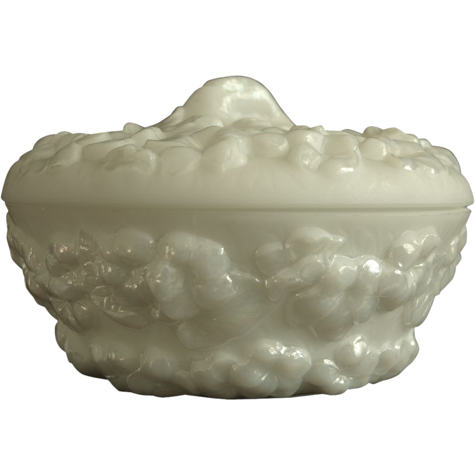 Phoenix Sculptured Artware Phlox Covered Candy Dish w/label, Pearl Lustre, Ca. 1934